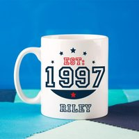 Personalised 18th Birthday Est Mug For Him - 18th Gifts