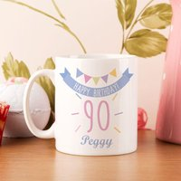90th Birthday Bunting Mug For Her - 90th Birthday Gifts