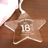 Personalised 18th Birthday Acrylic Star - 18th Gifts