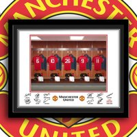Manchester United Dressing Room Customised Framed Print - Manchester United Gifts