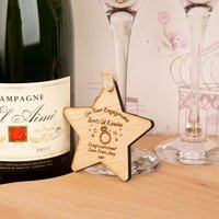 Personalised Engagement Wooden Star - Engagement Gifts