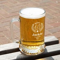 40th Wreath Unique Engraved Glass Pint Tankard: Special Offer - 40th Birthday Gifts
