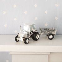 Silverplated Tractor And Trailer Money Box - Tractor Gifts