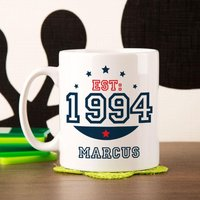 Personalised 21st Birthday Est Mug For Him - 21st Gifts