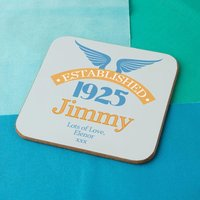 90th Birthday Established Year Drinks Coaster for Him - 90th Birthday Gifts