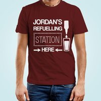 Mens Customised Beer Filling Station Tee - 40th Birthday Gifts