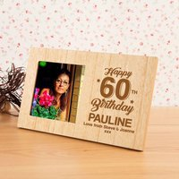 60th Birthday Personalised Wood Photo Frame - 60th Birthday Gifts