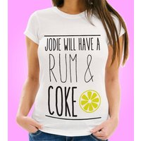 Personalised Rum & Coke Womens T-Shirt - 40th Birthday Gifts