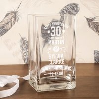 Personalised 30th Anniversary Engraved Glass Vase - 30th Gifts