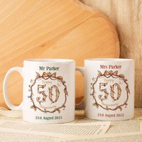 Personalised 50th Wedding Anniversary Mug Set - Wedding Anniversary Gifts
