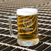 Unique 70th Wreath Engraved Glass Beer Tankard: Special Offer - 70th Birthday Gifts