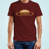 Customised Mens Train Conductor Maroon T-Shirt - 16th Birthday Gifts