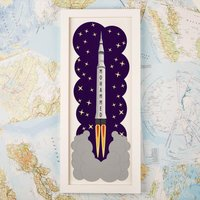 Customised Space Rocket Framed Print - 1st Birthday Gifts