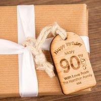 Personalised 90th Birthday Wooden Tag - 90th Birthday Gifts