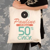 Personalised 50s Chick Cotton Shoulder Bag - Shoulder Bag Gifts