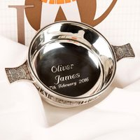 Engraved Pewter Baby Quaich. Presentation Boxed. - 1st Birthday Gifts