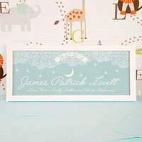Baby Blue Starry Sky Name Frame. Quality Frame And Print. - Quality Gifts