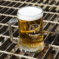 Personalised 90th Wreath Engraved Glass Pint Tankard: Special Offer - 90th Birthday Gifts