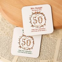 Personalised 50th Golden Anniversary Double Coaster Set - 50th Gifts