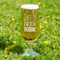 Personalised Beer Geek Glass Chalice - 90th Birthday Gifts