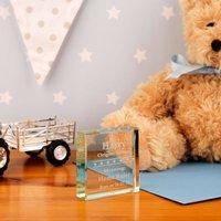 Engraved Baby Glass Block: Stars - Forever Bespoke Gifts
