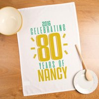 80 Years of...Personalised Birthday Tea Towel - 80th Birthday Gifts