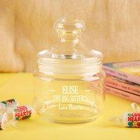 Personalised Big Sister Glass Sweet Jar - 70th Birthday Gifts