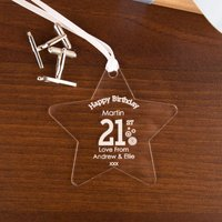 Personalised 21st Birthday Acrylic Star - 21st Gifts