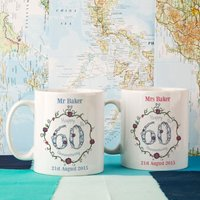 Personalised 60th Wedding Anniversary Mug Set - Wedding Anniversary Gifts