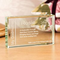Personalised Godmother Jade Glass Block - Godmother Gifts
