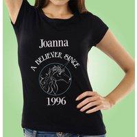 Unicorn Believer Personalised Black Womens T-Shirt - Unicorn Gifts