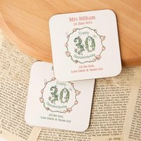 Personalised 30th Pearl Anniversary Double Coaster Set - 30th Gifts