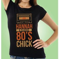 Bespoke 80s Chick Retro Black Womens T-shirt - 80s Gifts