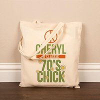 Personalised 70s Chick Cotton Shopper - 40th Birthday Gifts