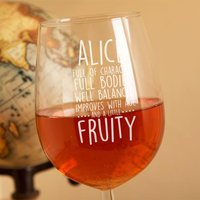 Personalised Wine Tasting Descriptions Glass - 90th Birthday Gifts