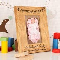 Customised Bunting Oak Frame: Portrait - 1st Birthday Gifts