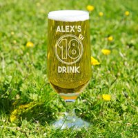 Customised 18th Drink Beer Glass - 18th Gifts