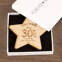 30th Birthday Wooden Star - 30th Gifts