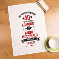 Personalised 40th Ruby Anniversary Printed Tea Towel - Ruby Wedding Anniversary Gifts