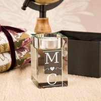 Couples Initials Custom Glass Tealight Holder - Custom Gifts