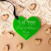 Personalised Will You Be My Maid of Honour Acrylic Heart - Maid Of Honour Gifts