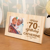 Personalised 70th Birthday Wood Photo Frame - 70th Birthday Gifts