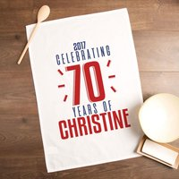 Personalised 70 Years of...Tea Towel - 70th Birthday Gifts