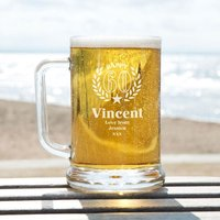 Engraved 60th Wreath Customised Glass Pint Tankard: Special Offer - 60th Birthday Gifts