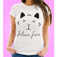 Feline Fine Womens T-Shirt - 40th Birthday Gifts