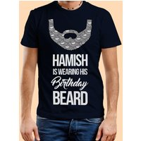 Mens Custom Birthday Beard Navy T-Shirt - Custom Gifts