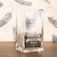 25th Wedding Anniversary Personalised Vase - Silver Wedding Anniversary Gifts