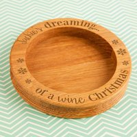 Dreaming of a Wine Christmas Wine Bottle Coaster - Forever Bespoke Gifts