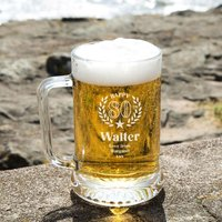 Customised 80th Wreath Engraved Glass Beer Tankard: Special Offer - 80th Birthday Gifts