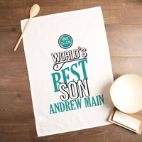 Personalised Worlds Best Son Tea Towel - Son Gifts